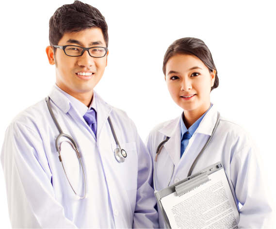 female and male pharmacist